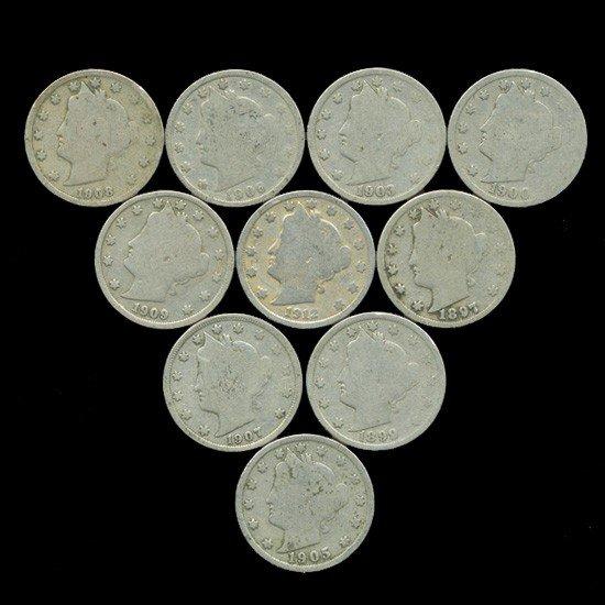 1: 10 US Liberty V Nickel Coin Lot