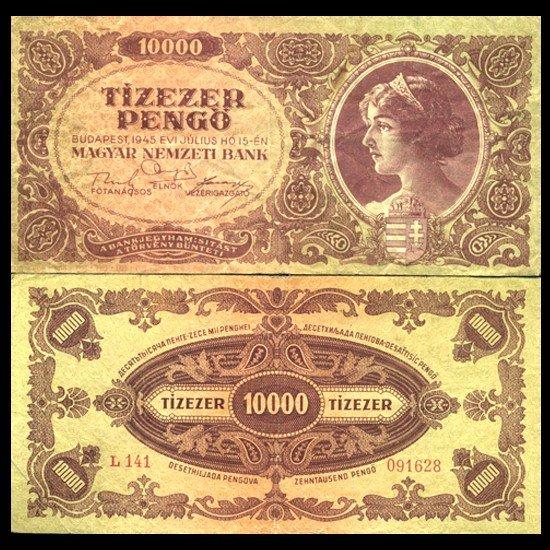 6: 1945 Hungary 10k Pengo Note Hi Grade Scarce Ty 2