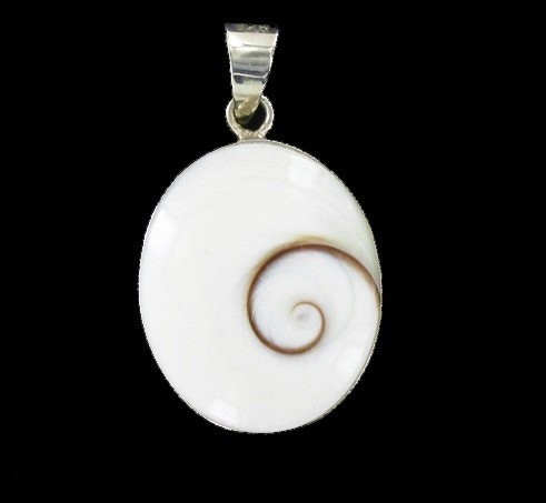 12: Sterling Shell Oval Pendant