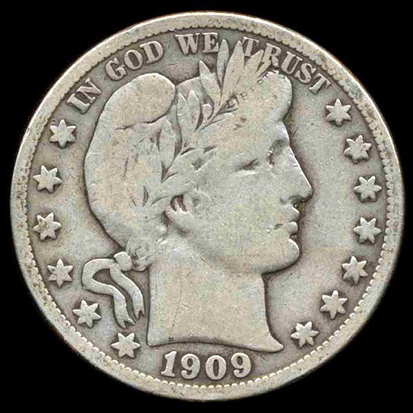 15A: 1909S Barber Half Better Grade