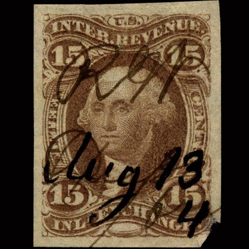 2: 1860s US Revenue Stamp 15c Inland Exch. Imperf