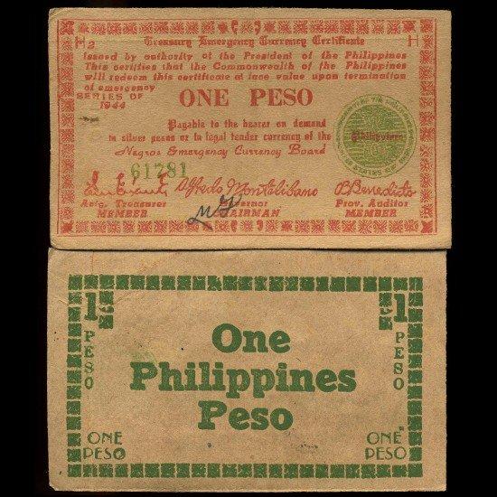 9: 1944 Philippines WW2 1 Peso Guerrilla Note