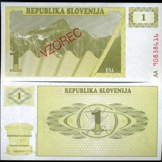 10: 1991 Slovenia 1 T Specimen Crisp Unc Note