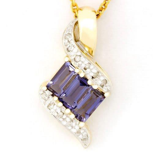 11: 0.93Ct Natural Iolite 12 Diamond 9K Gold Pendant