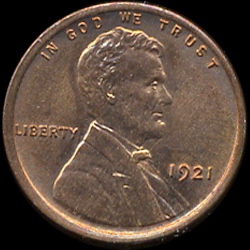 319: 1921 Lincoln Cent RARE MS65+ Red