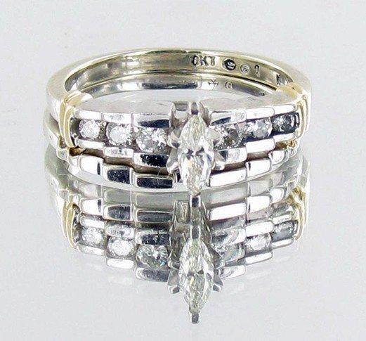474: .35ct VVS Diamond 10kt Wh Gold Engage/Wedding Set