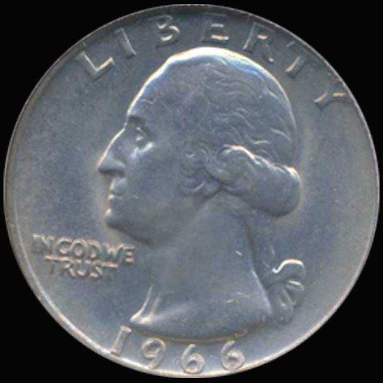 3A: 1966 Washington 25c Quarter Coin Graded GEM