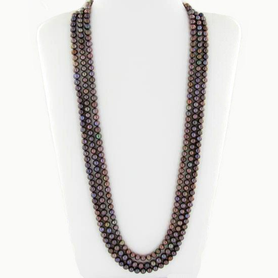 5: Black Saltwater Pearl Three Strand Necklace