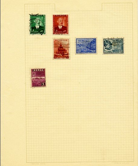 2: 1940s Norway Hand Made Stamp Album Page 6pcs
