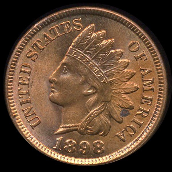 1456: 1898 Indian 1c MS66 Red