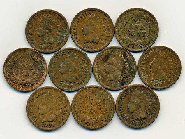 1: 10 US Indian Cent Coin Lot