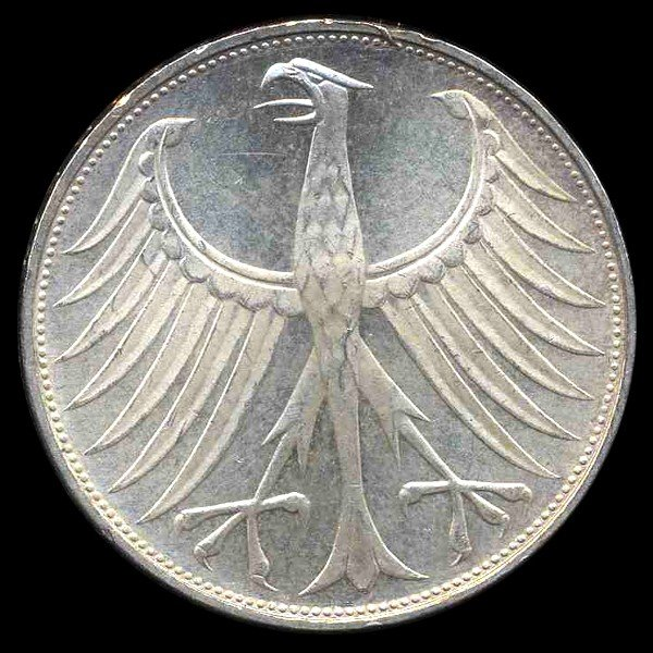 7A: 1972G Germany Silver 5 Mark MS63