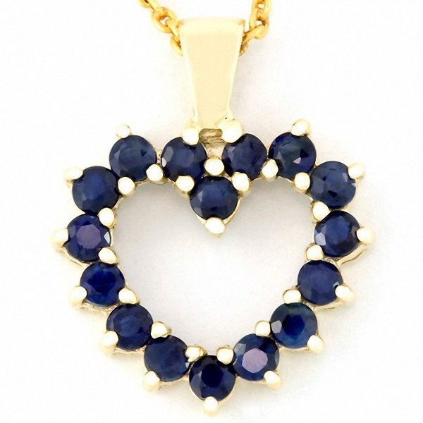 8: 1.12ct Natural Bl Sapphire 9k Solid Gold Pendant