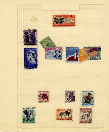 9: 1940s/50s S. Africa Hand Made Stamp Album Pg 14pc