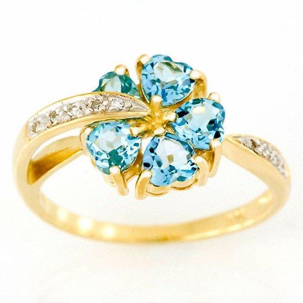 10: 1.68ct Floral Swiss Bl Topaz Diamond Ring 9k Gold