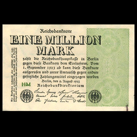1A: 1923 Germany 1m Mark Crisp Uncirculated Note