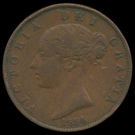 3A: 1853 Victoria Halfpenny Hi Grade
