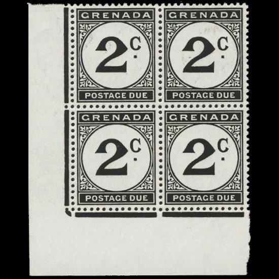 6A: 1952 Grenada 2p Postage Due Stamp Block PREMIUM