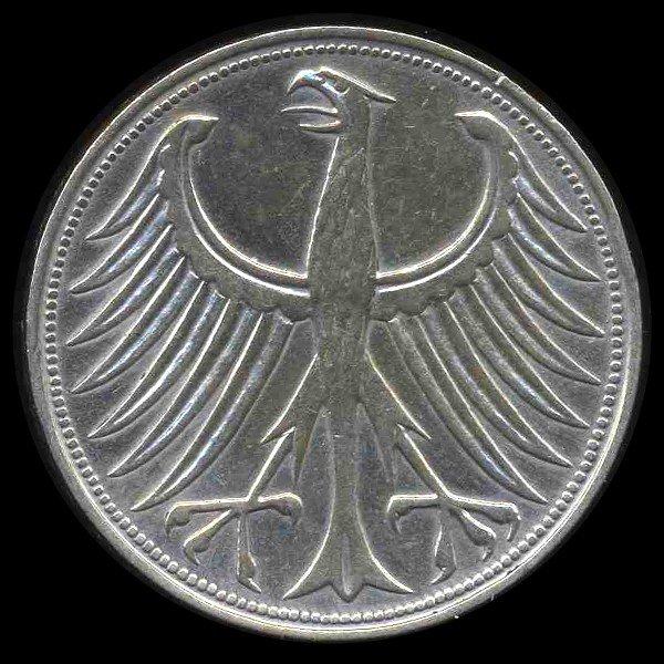 2: 1957D Germany 5 Mark Hi Grade RARE