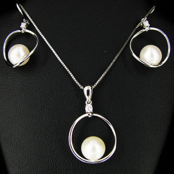 4: Pearl Diamond 14k Pendant Earrings Chain