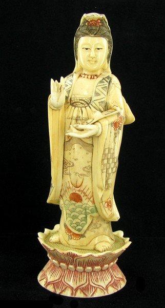 1574: Chinese Handcarved Bone Kwan Yin on Lotus Base
