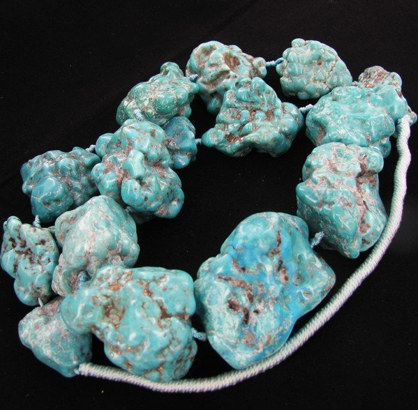 997: 2225ct Natural Turquoise Chunk Strand