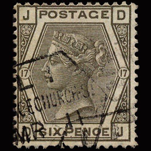 5: 1874 RARE GB 6p Gray Used Stamp Rare Cancel
