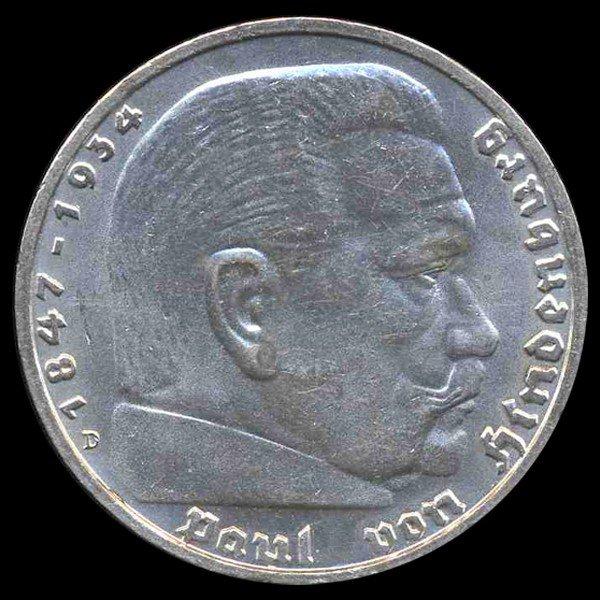 18: 1935D Nazi Germany 5 Mark MS 65 RARE ERROR