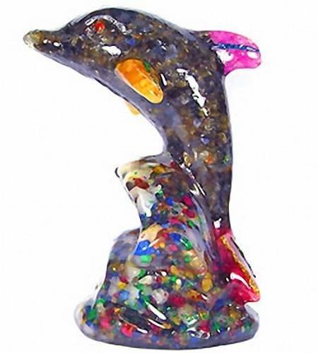 2: 1,900.00ct Sapphire & Topaz Dolphin Figure Statue
