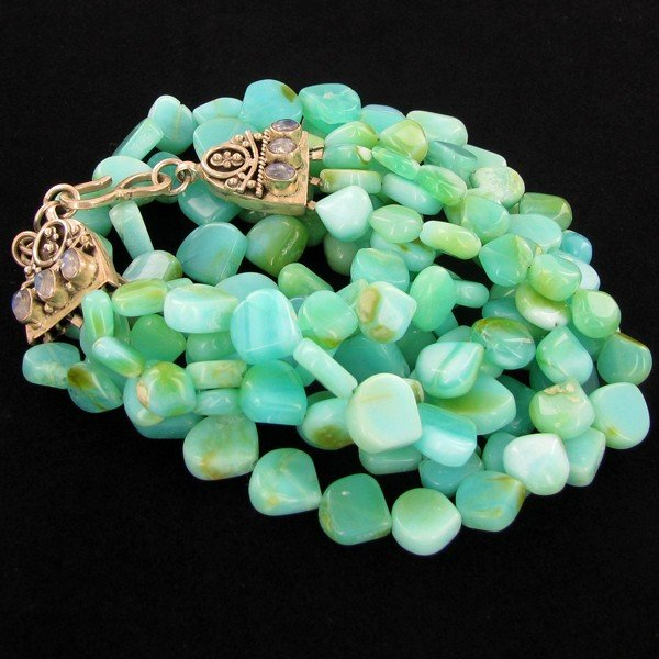 12: 685twc Blue Opal Beads Sterling Necklace