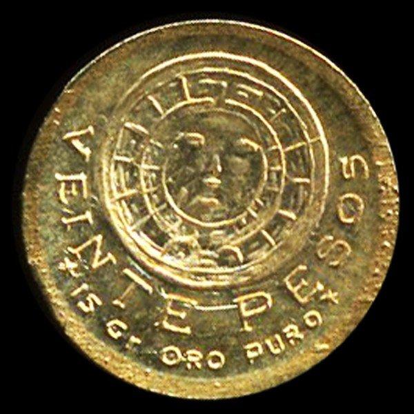 13A: 1959 Mexico Aztec Mini Gold Coin 8k