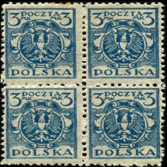 6: 1920 Poland 3m Eagle 4 Block Variety