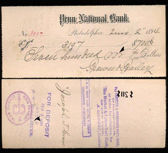 10: 1894 Orig Penn Nat'l Bank Phila. Cashier's Check