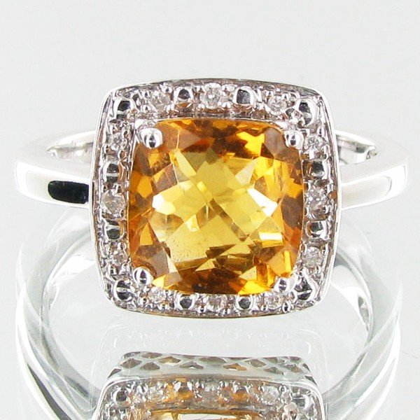 880: 20.09twc Citrine Diamond 14k Gold Ring
