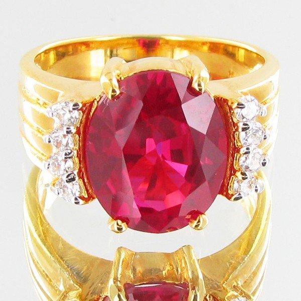 3: 23.2twc Lab Diamond/Ruby Gold Vermeil Ring