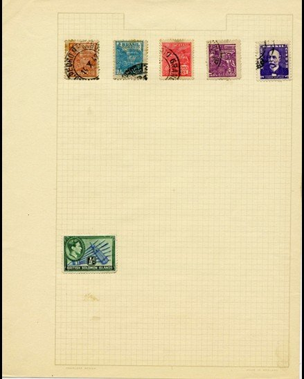6: 1920s Brazil Hand Made Stampn Album Page 6 Pieces