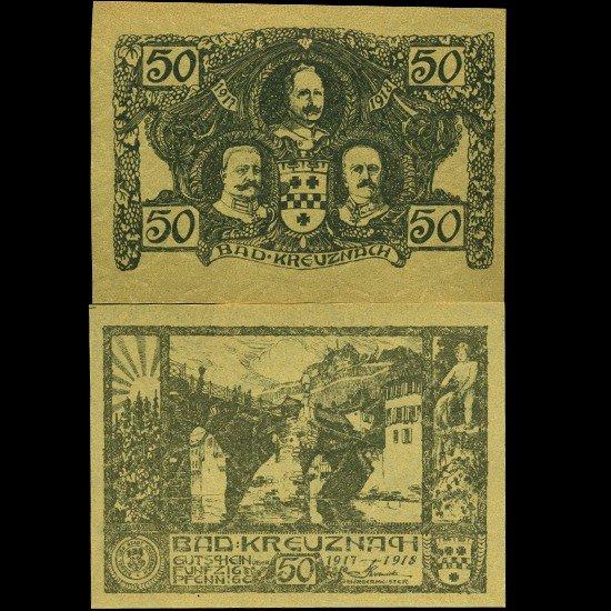 9: 1917 Germany 50 Pfennig Note Crisp Unc