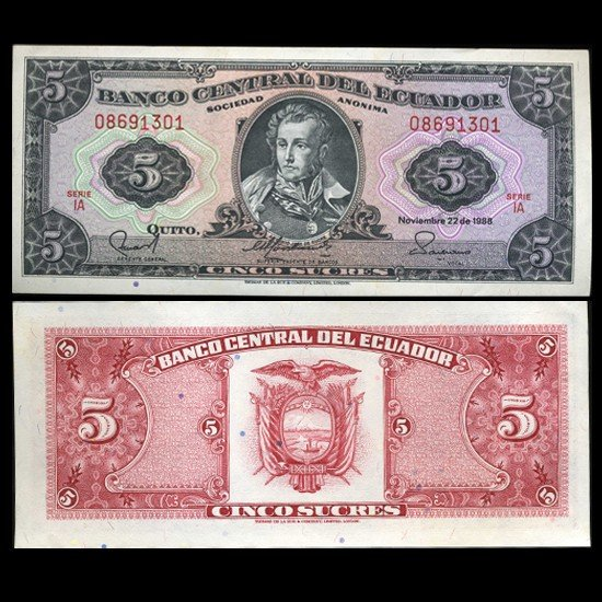 14: 1988 Ecuador 5 Sucre Crisp Uncirculated Note