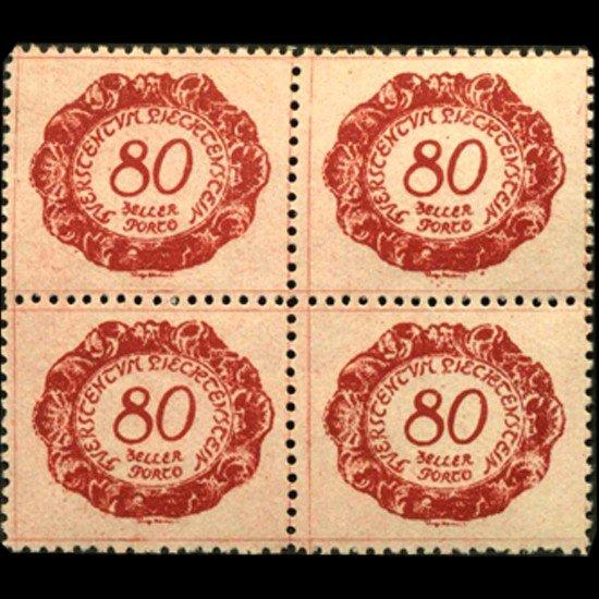 18: 1920 Liechtenstein 80h Postage Due 4 Block Error