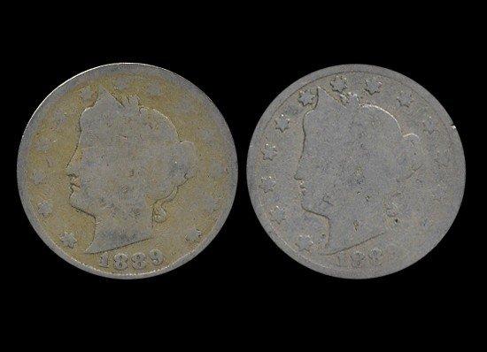 20: 1887 Liberty Nickel Better Circulated Pair