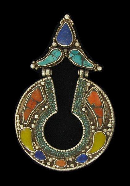 359: Antique Tibet Silver Inlaid Pendant