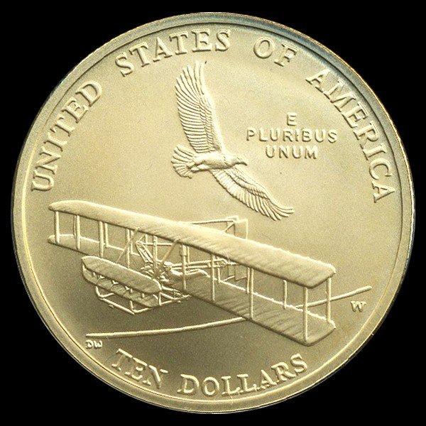 2748A: 2003 US $10 First Flight Gold MS69+ 1/2OZ! - 2