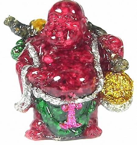 17A: 550ct. Ruby & Topaz Chinese Happy Buddha Statue
