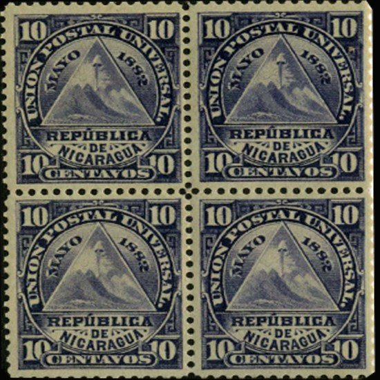 19A: 1882 Nicaragua 10c May Day Block of 4