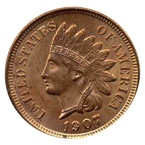 1101: 1907 Indian Cent Uncirculated MS66 RED