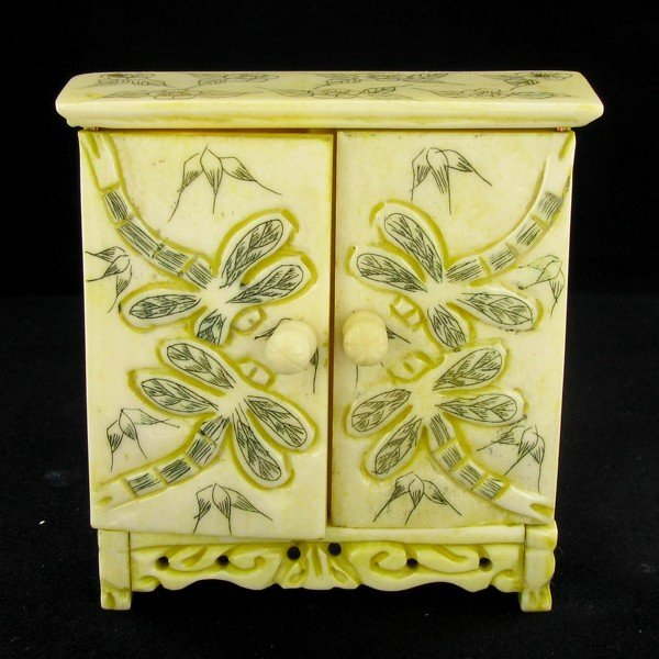 7: Chinese Handcarved Bone Double Gem Box