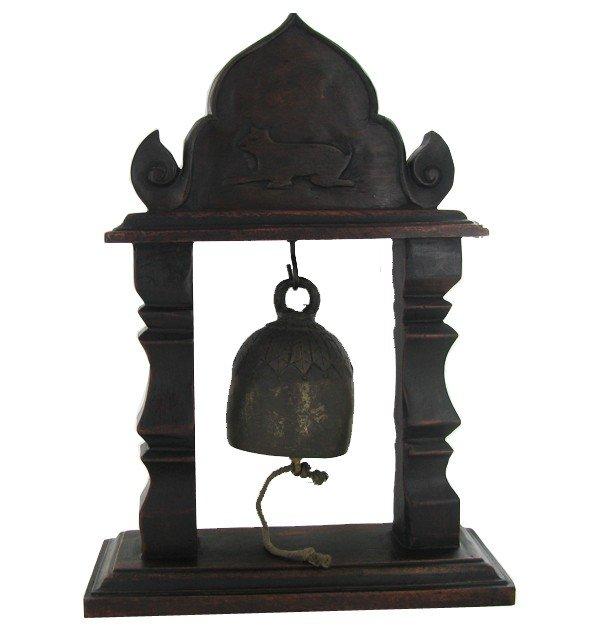 3A: Vintage Thai Temple Bell on Elaborate Teak Stand
