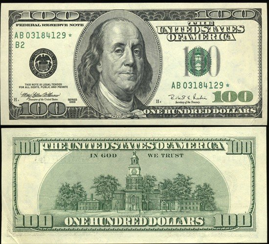 137: 1996 $100 US Federal Reserve New York Star Note Cr