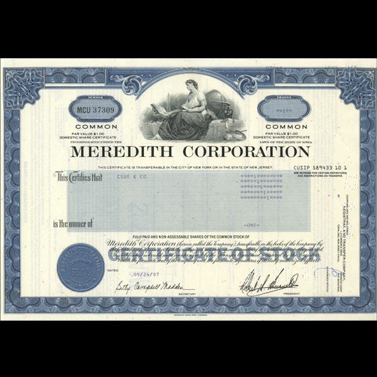 14: 1980s Meredith Corp Stock Certificate Scarce Blue