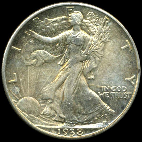 1218: 1938D Walking Lib 50c Hi Grade AU++ Great Toning